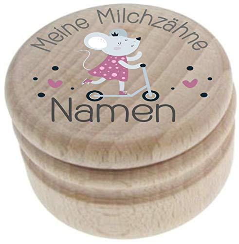 Milchzahndose aus Holz – Meine Milchzähne – Zahndose mit Namen personalisiert – Die Zahnbox hat einen Deckel mit Schraubverschluss - perfekt als kleines Geschenk · Zahnfee - für Jungen & Mädchen - 6