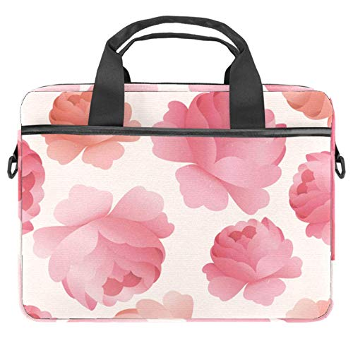Computer Bag Suitable for MAC Computers Men and Women Handbags: 13.4 inch-14.5 inch Lightweight 15 Inch Laptop Bag Business Messenger Watercolor Pink Peony Flower Pattern