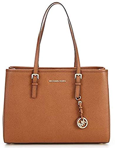 """From MICHAEL Michael Kors, the Jet Set Travel Large East West Tote Bag features: Saffiano leather 100% leather Dog clip closure Approx. 14""""W x 10.5""""H x 5.25""""D; handle drop 9.25"""" Interior back zip pocket, 2 back slip pocket, 1 center tech zip compartm..."""