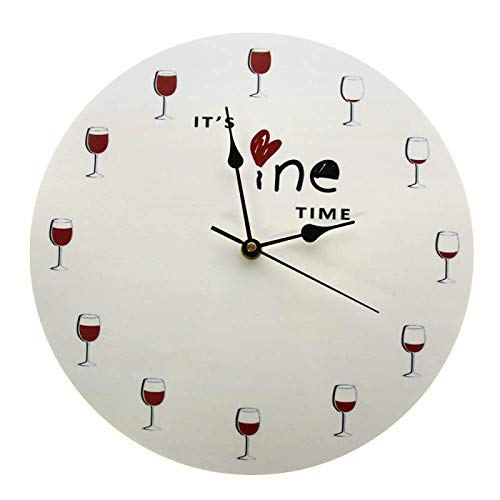 gongyu Es Hora del Vino Reloj de Pared Alcohol Copa de Vino Reloj Decorativo de Vino Tinto Reloj de Licor Restaurante Bebedor de Vino Regalo de Amante