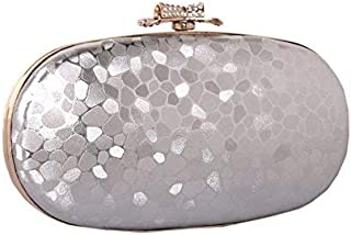 YOUTO Evening Party Clutch Bags Ladies Fashion Leather Bag Hand Bag Water Cube Simple Hard Box Chain Bag (Color : Silvery)