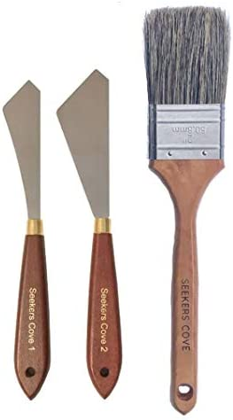 Painting Knife Set of 2 and 2 Inch Blender Brush Two Palette Knives with Natural Bristle Background product image