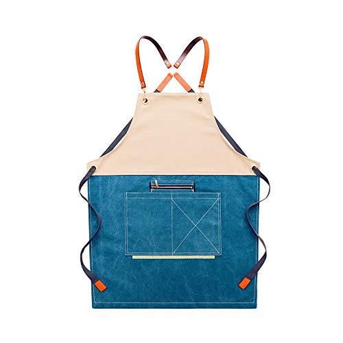 Canvas Schort van het Werk, Multi-Tool schort met Cross-Back Riemen, voor keukens, tuinen, keramiek, Craft Workshops, Kapsels