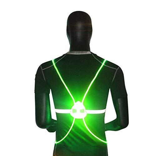 TOOED Chalecos De Seguridad Reflectantes 360 Reflectante LED Flash Chaleco De Seguridad De Alta Visibilidad Noche De Ciclismo Equipo De Ciclismo Actividades Al Aire Libre Iluminación,Verde