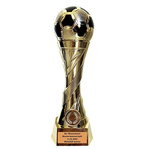 Larius Group Fußball Pokal mit Wunschgravur Extra Groß (250mm, 460gr.) - Trophäe Ehrenpreis Goldener Schuh Ball - Torschützenkönig (mit Wunschtext)