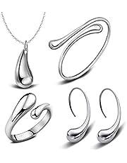 925 Sterling Silver hi-shiny Tear Drop Italian Design JEWELRY SET Necklace, Bracelet, Earrings,Ring