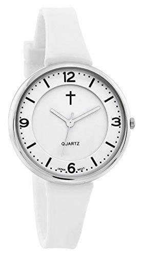 Creencia Reloj de mujer | deportivo color blanco cara banda de silicon