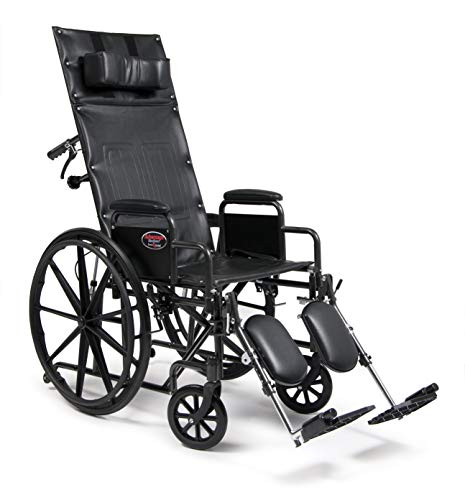 """Everest & Jennings Advantage Reclining Wheelchair, Fixed Desk Arms & Elevating Legrests, 18"""" Seat, Silvervein Color"""