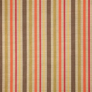 Sunbrella Indoor / Outdoor Upholstery Fabric By the Yard ~ Solano Fiesta ~ Coral, Green, Tan, Yellow, Brown, Stripe