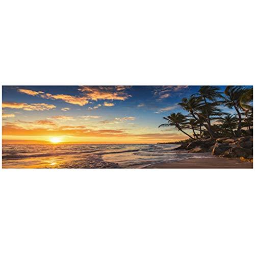 Impresión en lienzo Atardeceres Mar natural Playa Cocotero Paisaje Lienzo Pintura Carteles e impresiones Imagen de arte de pared Sala de estar Decoración para el hogar 50x120cm/19.6 'x47.2' Sin marco