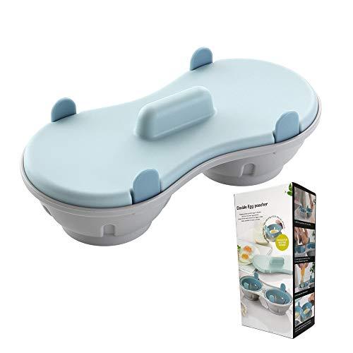 Gobesty Horno de Huevos microondas, 2 Tazas Cazador furtivo de Huevos en microondas, Máquina para Hacer Huevos escalfados en microondas Copas Dobles con Cubierta (Aptas para el lavavajillas)