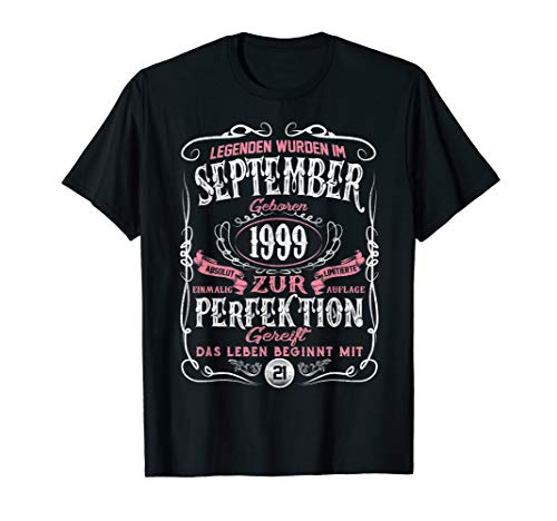 Geschenk zum 21. Geburtstag Jahrgang 1999 September Gift T-Shirt