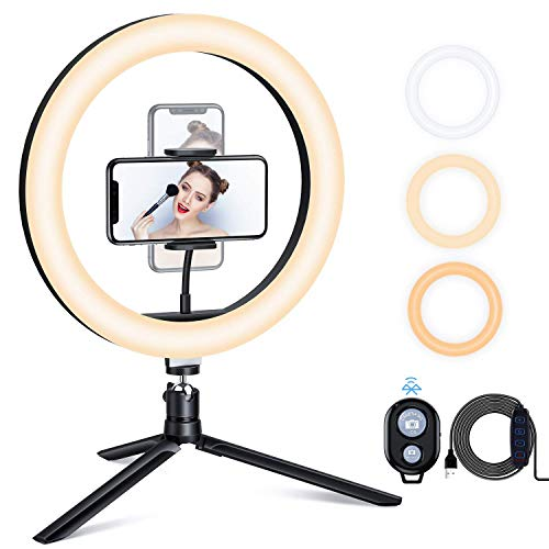 ESDDI Ringleuchte, 10'' LED Ringlicht Stativ, Farbtemperatur und Helligkeit Einstellbar, Tischringlicht mit Telefonhalter, Bluetooth für Live-Stream, YouTube, Tiktok, Volg, Make-up, Video und Selfie
