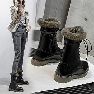 Bottes Martin Boots Winter Thickened Mid-Boots Warm Snow Boots Plus Velvet Cotton Shoes Baril Moyen Noir 40