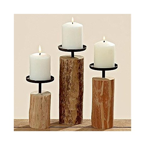 3er Set Kerzenständer aus indischem Eukalyptus Holz - Höhe jeweils ca. 15,5 cm, 19 cm, 24 cm - Durchmesser ca. 7,5 cm - Perfekt für Dekoration, Kerzen, Teelichter und Kerzenleuchter