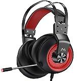 Mpow EG3 Pro Auriculares Gaming para PS4/PC/Xbox One/Switch/Mac, LED Auriculares para Juegos, Sonido Envolvente Virtual 7.1, 3.5mm USB Jack Cascos con micrófono cancelación de Ruido, Rojo