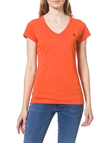 G-STAR RAW Eyben Slim V-Neck Camiseta, Acid Orange 2757-b214, M para Mujer
