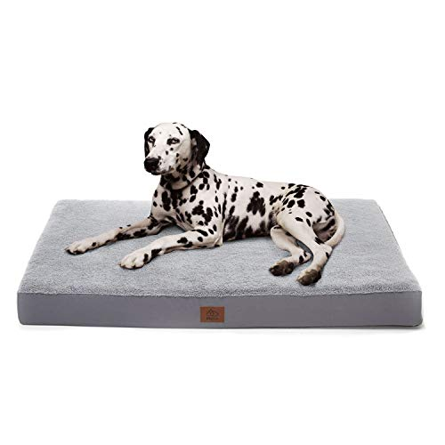 Eterish Large Orthopedic Dog Bed for Medium, Large Dogs up to 75 lbs, 3 inches Thick Egg-Crate Foam Dog Bed with Removable Cover, Pet Bed Machine Washable, Grey