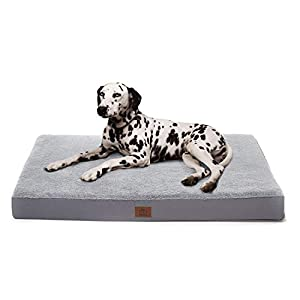 Eterish Orthopedic Dog Bed for Medium, Large Dogs, Egg-Crate Foam Dog Bed with Removable Cover, Pet Bed Machine Washable, Grey
