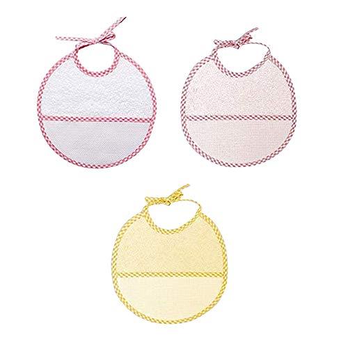 Ti TIN - Pack 3 Baberos de Punto de Cruz 100% Algodón con Tacto muy suave | Color Rosa, medidas 19x19 cm