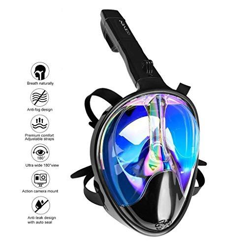 OCEVEN Tauchmaske, Easybreath Schnorchelmaske, Anti-Fog Anti-Leak 180° Sichtfeld Dichtung, aus Silikon Vollmaske, für Gopro Kamera Erwachsene - UV-Schutz (L/XL, Schwarz-Blau)