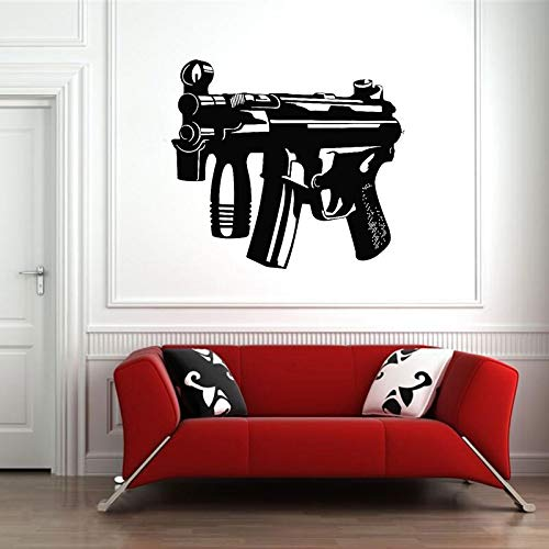 Waffe Pistole Kugel schießen Räuber Wandaufkleber Vinyl Wohnkultur Innenarchitektur Fenster Aufkleber abnehmbare selbstklebende Wanddekoration A8 47x49cm