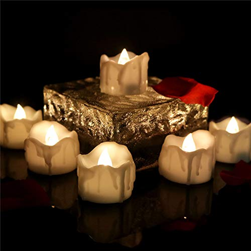 Amzbeauty 96pcs Flameless Tea Lights Timer Warm White Electric Candles Flickering CR2032 Battery Operated for Holiday Fireplace Outdoor Lantern Decorations Luminary Bags