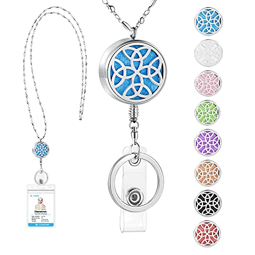 SAM & LORI Strong Retractable Pretty Lanyard Necklace for ID Badges Holder and Keys Stainless Steel Metal Lanyard Necklace Silver Chain with Badge Clip for Women Teachers Nurse Celtic knot