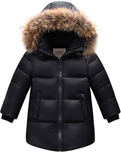 ZOEREA Daunenjacke Kinder Winterjacke mit Fellkapuze Jungen Mädchen Wintermantel Warme Verdickte Daunenmante Winter Kleidung(Schwarz, Etikett 100)