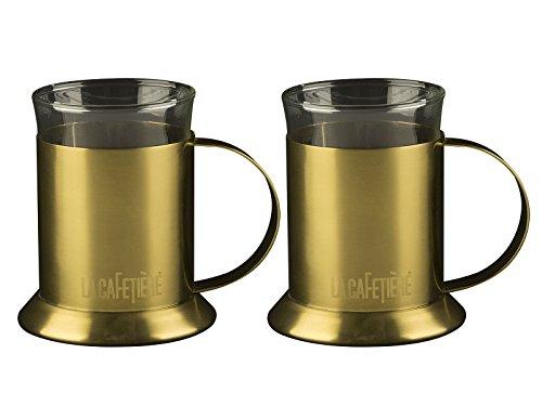 La Cafetière Lot de 2 tasses en verre finition or brossé 200 ml