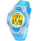 Reloj Digital para Niños Niña Reloj Infantil Niños Chico Impermeabl 7 Colores Luz LED Multifuncionales de Relojes Pulsera con Alarma para Niños Niñas de 3 a 15 años