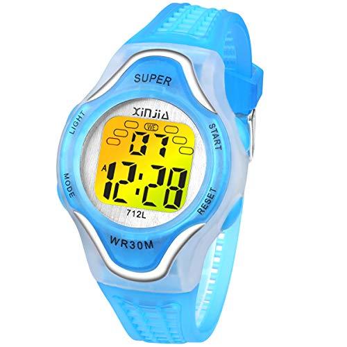 Kinder Digitaluhren, 7 Farben LED-Licht Kinder Sport Armbanduhr Jungen Wasserdicht Kinderuhr mit Uhrzeit Datum Angezeigt, Stundensignal, Stoppuhr, Alarmfunktionen Kinder