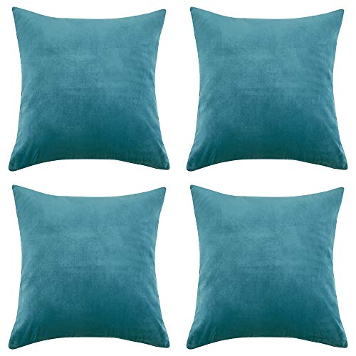 RENMEI Teal Cushion Cover en Velvet for Sofa 18x18 Inches 45cm x 45cm Smooth Soft Throw Pillowcases for Bedroom with Invisible Zipper Set of 4