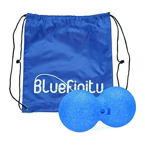 Bluefinity Rodillo Masaje Bola Doble para Fascia, Tejido Conjuntivo y Puntos Gatillo, Azul, 12 cm