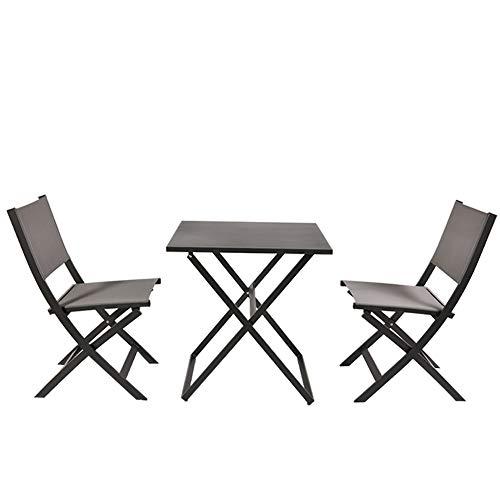 Garden Art Garden Premium Line 3er Set, 2 Gartenstühle, 1 Gartentisch, Klappsessel aus Aluminium Wetterfeste Gartenmöbel