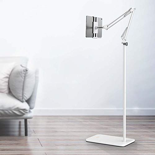 Tablet Floor Stand, Holder for iPad, iPad Pro Floor Stand Universal 360-degree Rotatable & fold arm Metal Tablet Holder Mount, Stable Base, Compatible Tab and Phones (4'-13')