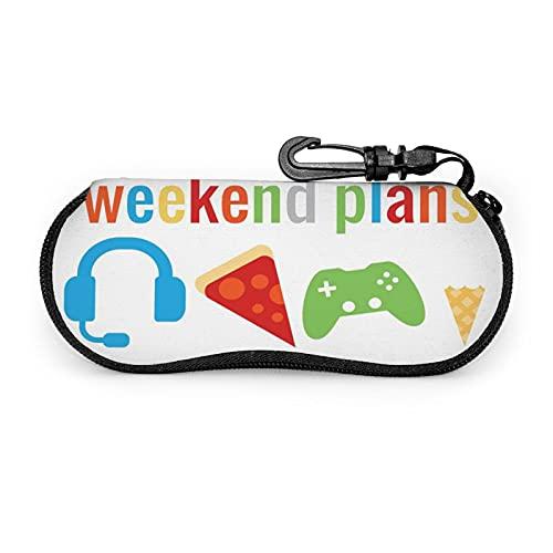 Planes de Fin de Semana para niños Divertidos Video de Jugador (2) Estuche Protector Unisex, para Gafas Gafas de Sol, Estuche Blando Estuche para Gafas con Cremallera (con Clip para cinturón