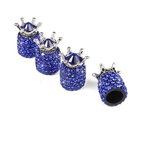 JUSTTOP Car Wheel Tire Valve, 4 Pack Handmade Crown Crystal Rhinestone Car Stem Air Caps Cover, Attractive Dustproof Bling Car Accessories, Universal for Most Vehicles-Crown Dark Blue