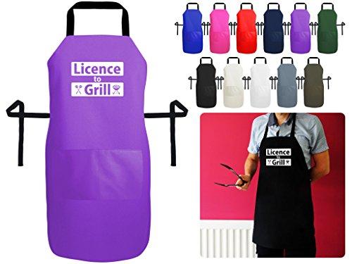 Licencia para parrilla barbacoa de cocina y delantal Premium british-made–Delantal impreso con bolsillo., algodón, polialgodón, e. Purple Polycotton, Small 60cm x 40cm