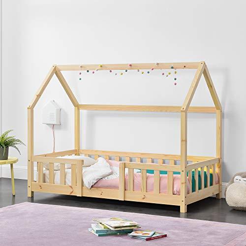 Cama para niños de Madera Pino 80 x 160 cm Cama Infantil con Reja Protectora Forma de casa Casita Pino Natural
