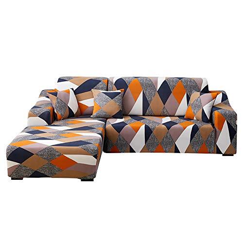 SearchI Funda Elástica para Sofá Chaise Longue,Extraíbles y Lavables,Cubre Sofá Chaise Longue Estampada Antideslizante,Funda Protectora para Sofá en Forma de L 2 Piezas(Geometría,2 Plazas+3 Plazas)