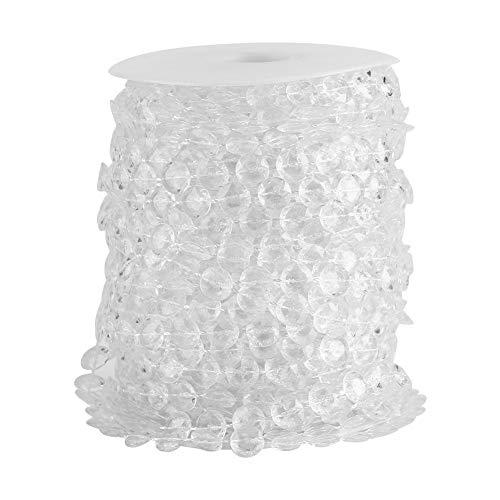 SANON Acryl Kristall-Ähnliche Schnur Perlen Vorhang DIY Handwerk für Die Dekoration Hochzeit/Geburtstag/Party. (30 M) - Transparent