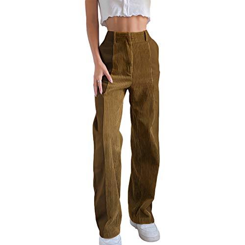 Carolilly Damen Hose Cord Straight Hose Retro Haremshose Patchwork Streetwear High Waist Hose Stretch Push Up Fit für Frauen (Braun, S)