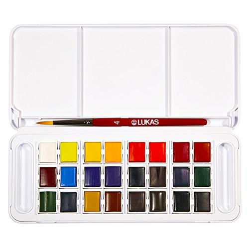 Lukas Studio Watercolor Set of 24 Half-Pan w/Accessories