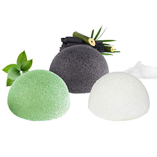 Esponja Konjac Facial 100% Naturales, Esponja Exfoliante Facial, 3PCS Esponja Konjac Cuidado de la Piel Facial y Limpieza Profundamente a la Piel Facial (Negro Carbón, Blanco y Verde)