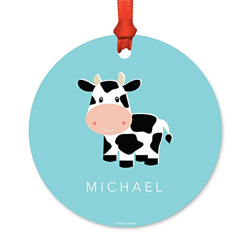 Andaz Press Fully Personalized Metal Christmas Ornament, Cow Print, 1-Pack, Includes Ribbon and Gift Bag, Custom Name
