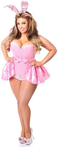 Daisy Corsets Women s Lavish Plus Size 3 Pc Playful Pink Bunny Costume 2X product image