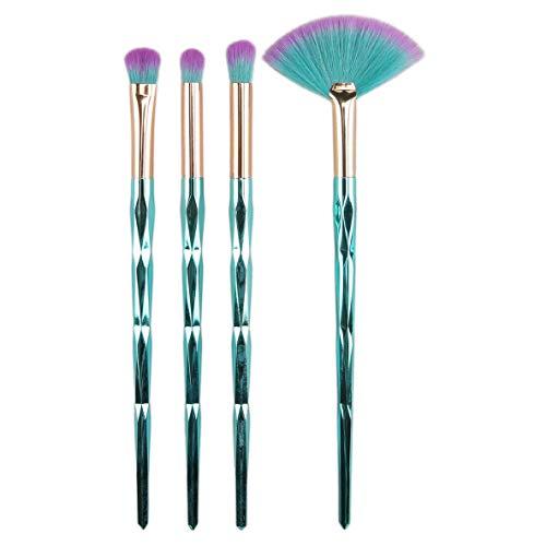 nbvmngjhjlkjlUK Pinceaux cosmétiques, 4pcs pinceaux de Maquillage Professionnel, Pinceau Fard à paupières pinceaux de Maquillage Ensemble d'outils de beauté (Bleu)