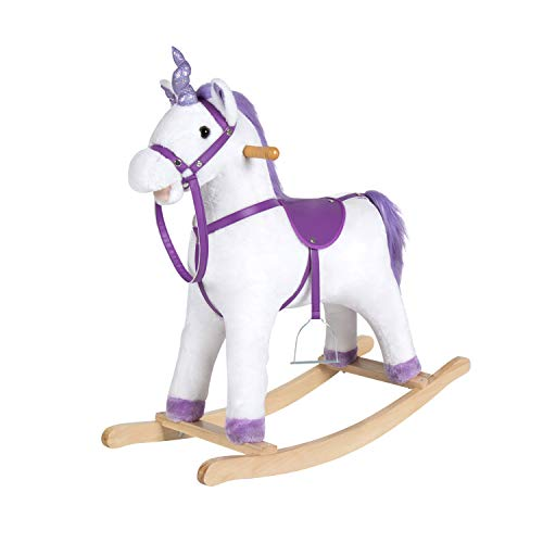 Kintness Kids Plush Rocking Horse Unicorn Rocker Horse Ride On Neigh Sound for Children's Day Birthday Gift w/ Stirrups