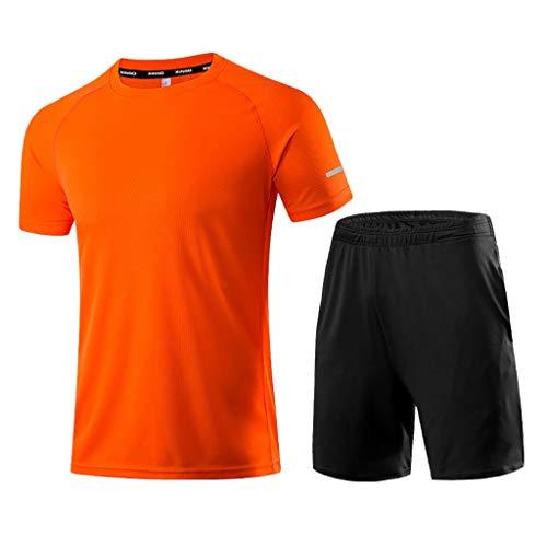 Yowablo Compression Homme Tenue Sport Fitness Vêtement Running Tee Shirt Compression Legging Sport Running Jogging (M,1Orange)